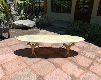 Mid-Century Italian Surfboard Marble Top Coffee Table on Gilt Metal Base