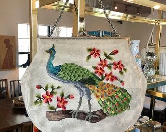 Beautiful Large Vintage Peacock / Bird Needlepoint Handbag / Purse