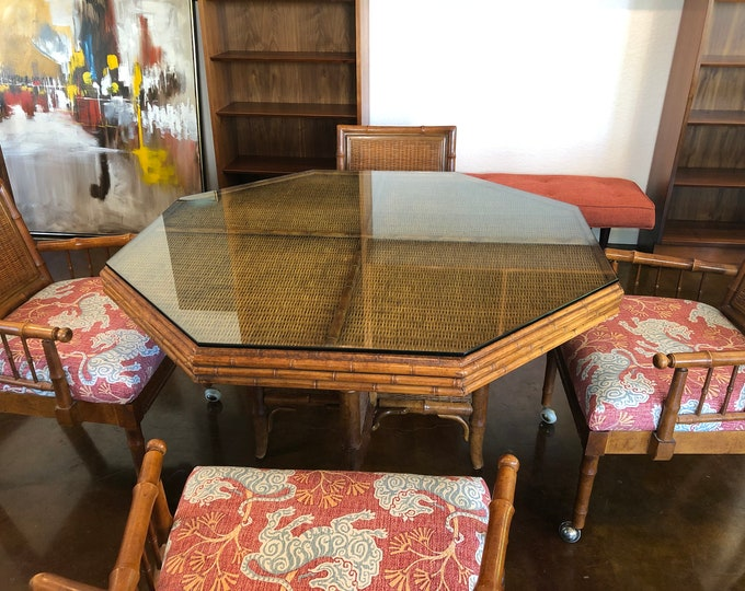 Mid Century Modern American of Martinsville Wood, Wicker, Faux Bamboo, Octagonal Breakfast / Game Table, New Chinoiserie Fabric Upholstery