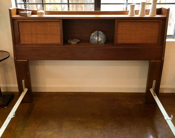 Mid Century Modern Full / Queen Walnut Bookcase Headboard, Cane Sliding Doors, Footboard and Metal Rails Included