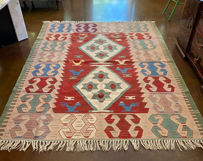 "Featured listing image: 5' 2"" x 6' 5"" Hand-Tied Turkish Oushak Kilim Area Rug, Light Mauve Pink, Rust, Sage Green, Amethyst, Blue, White Color Palette"