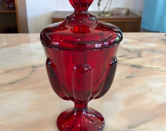 Viking Glass Ruby Red Pedestal Lidded Candy Jar, Mid Century, C. 1960s