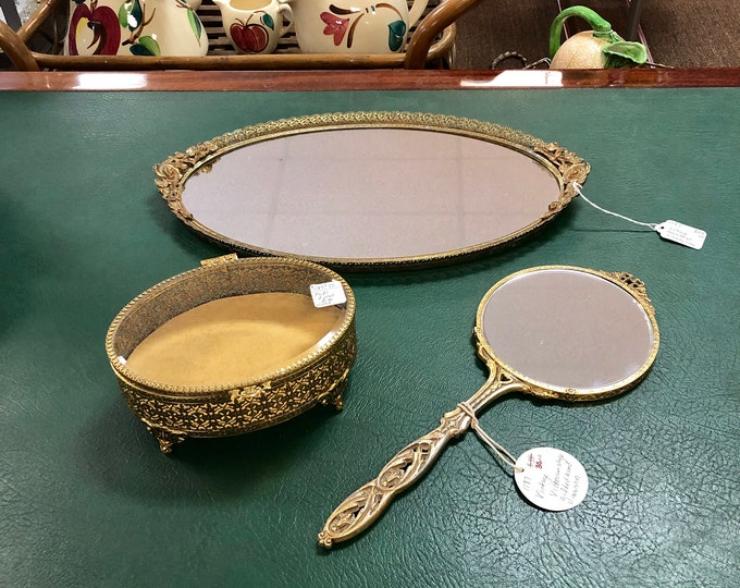 Choice of Vintage Gilded Vanity Accessories, Openwork Mirrored Tray, Dual Sided Art Nouveau Style Hand Mirror, Victorian Style Filigree Cask