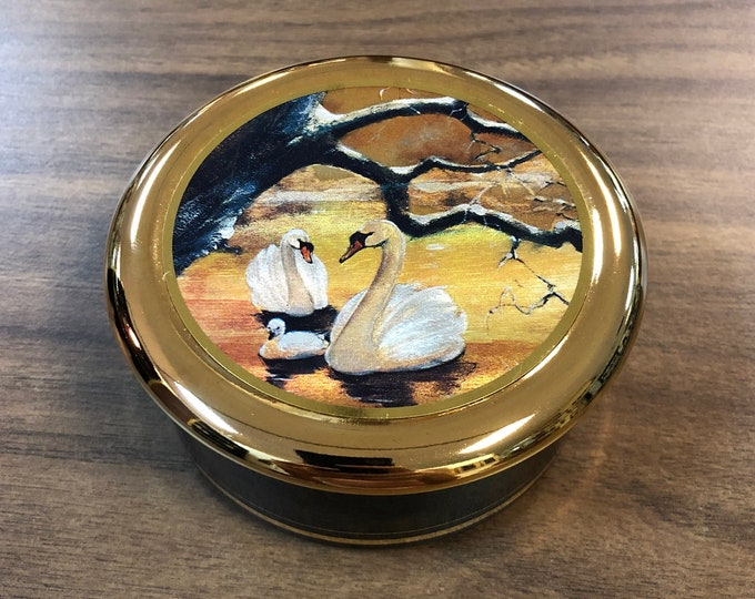 Fine China 24K Gold Gilded Trinket Box with Dufex Foil Print of Swans on Water