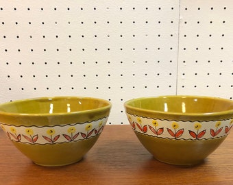 Pair of Mid Century Italian Glazed Ceramic Moss Green and Flower Detailed Bowls