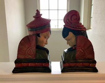 Pair of Alluring Oriental Art Deco Style Chalkware Busts, Bookends, Mantle Shelf Decor