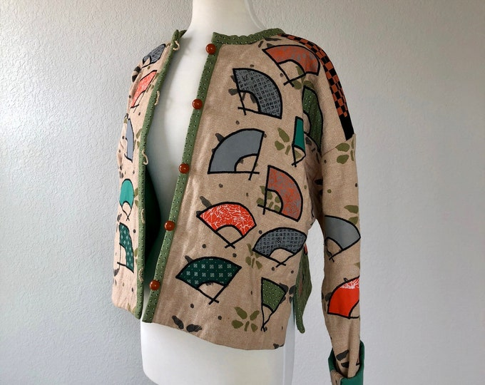 Women's Vintage Handmade Oriental Inspired Geisha & Fan Motif Quilt Jacket, Quilting Patchwork Clothing