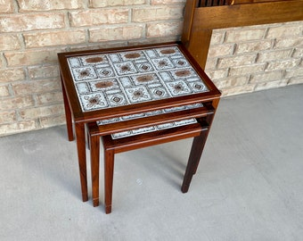 Mid Century Danish Modern Rosewood and Tile Top Nesting Tables