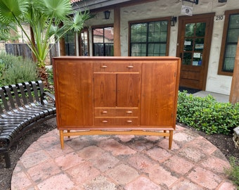 Mid Century Modern Lockable Teak Highboard Cabinet