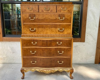 Exquisite French Provincial Henry XV Style Burled Acacia Highboy Dresser by Romweber