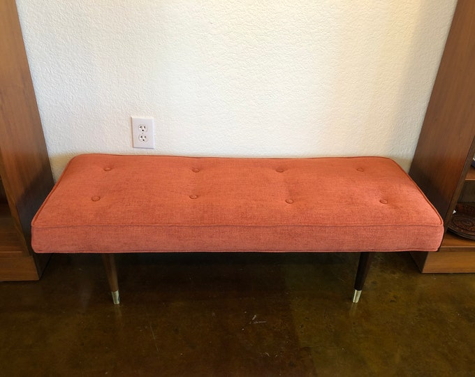 Milo Baughman Style, Mid Century Modern Bench, Newly Reupholstered in Coral-Orange Kravet Tweed, C. 1960s