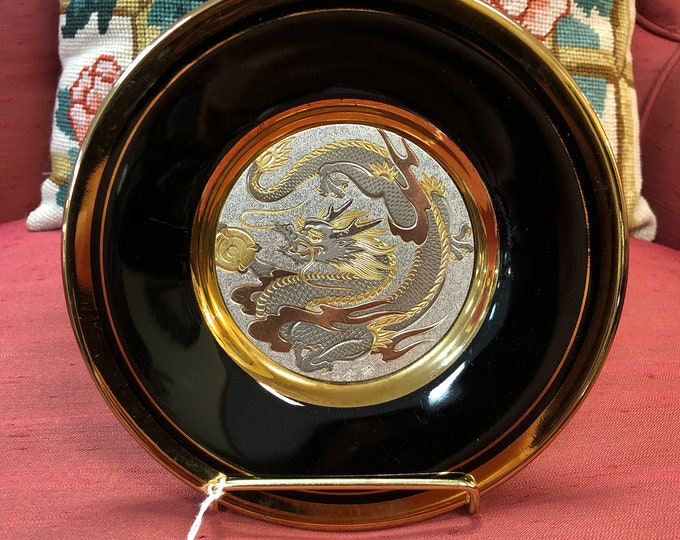 Mid Century Japanese Chokin Plate with Dragon Decoration and Real Gold Edged Rim