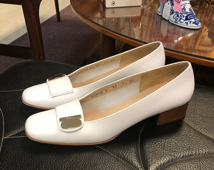 SOLD - Vintage Pair Salvatore Ferragamo White Leather Heeled Loafers Size 7 1/2 Narrow