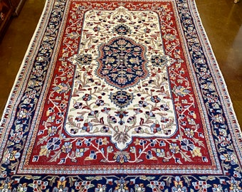 "6' 8"" x 4' Persian Hand-Tied Area Rug, Navy Blue, Rust, Cream, Light Blue, Light Green, Taupe, Gold, Pink Colors"