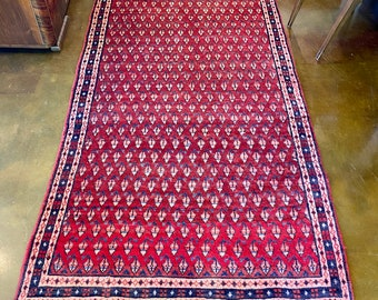 "Persian Hand Knotted Mir Wool Runner Rug, in Red Rose, Pink, Blue Geometric patterns, 7' 10"" x 3' 8"""