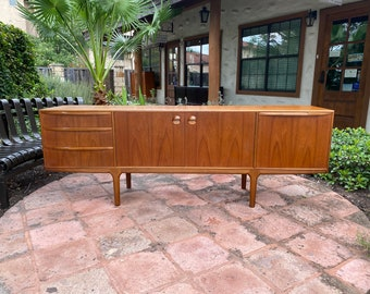 "84"" Mid Century Modern, Long and Low Teak Sideboard by McIntosh"