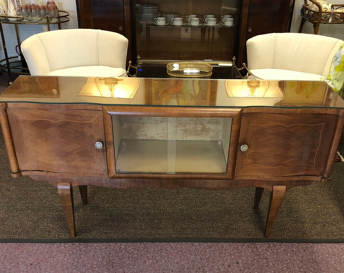 French Art Deco Small Modern Console / Entry Table / Small Server / Low Sideboard