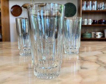 Mid Century Arcoroc France 'Lancer' 12 oz Blown Clear Cut Glass Drinking Glasses / Tall Tumblers