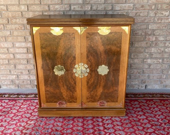 Boho Chic Mid Century Bar Cabinet with Slight Ethnic Flair, Moroccan Style, Wood and Faux Burl with Gold Accent Hardware