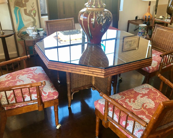 Boho Chic, Mid-Century Modern, Wood, Wicker, Faux Bamboo Dinette or Game Table, By American of Martinsville, New Chinoiserie Seat Upholstery