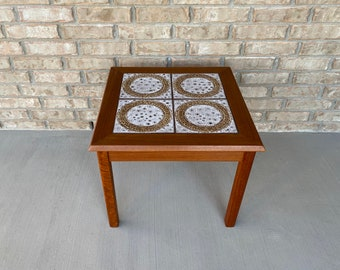 Danish Mid Century Modern Teak and Tile Top End / Side Table, C. 1960s
