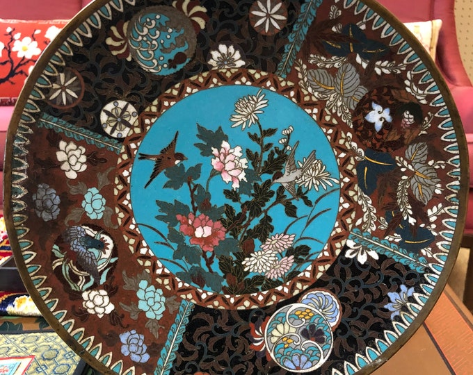 Antique Oriental Cloisonne Decorative Plate with Floral and Bird Motif