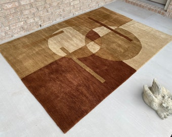Hand Knotted 5' x 8' Tibetan Wool Area Rug, in Neutral Tans and Browns, Mid Century Modern Style,  Luxuriously Soft