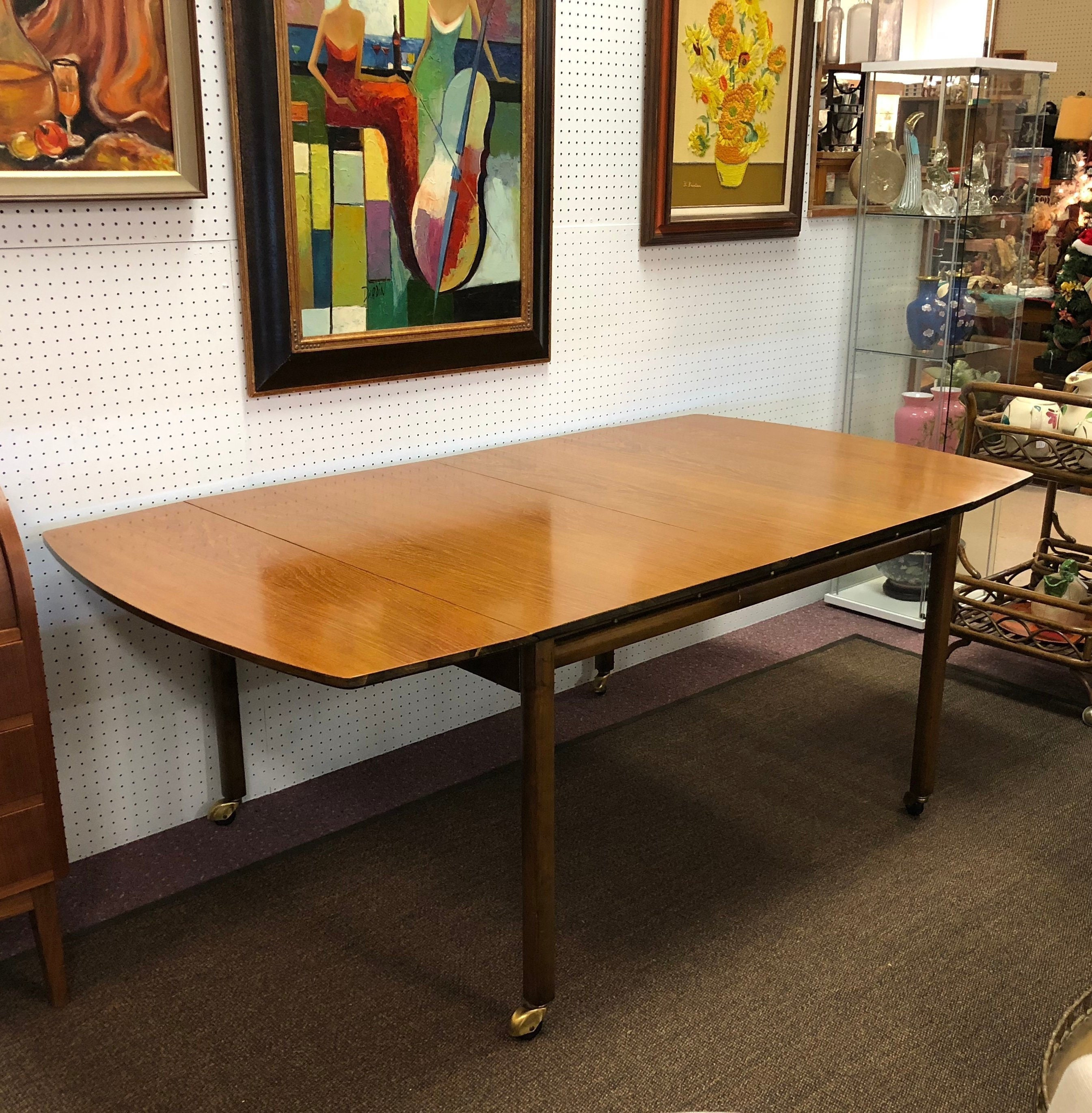 Mid century modern baker furniture expandable drop leaf dining table with leaf c 1950s high end vintage