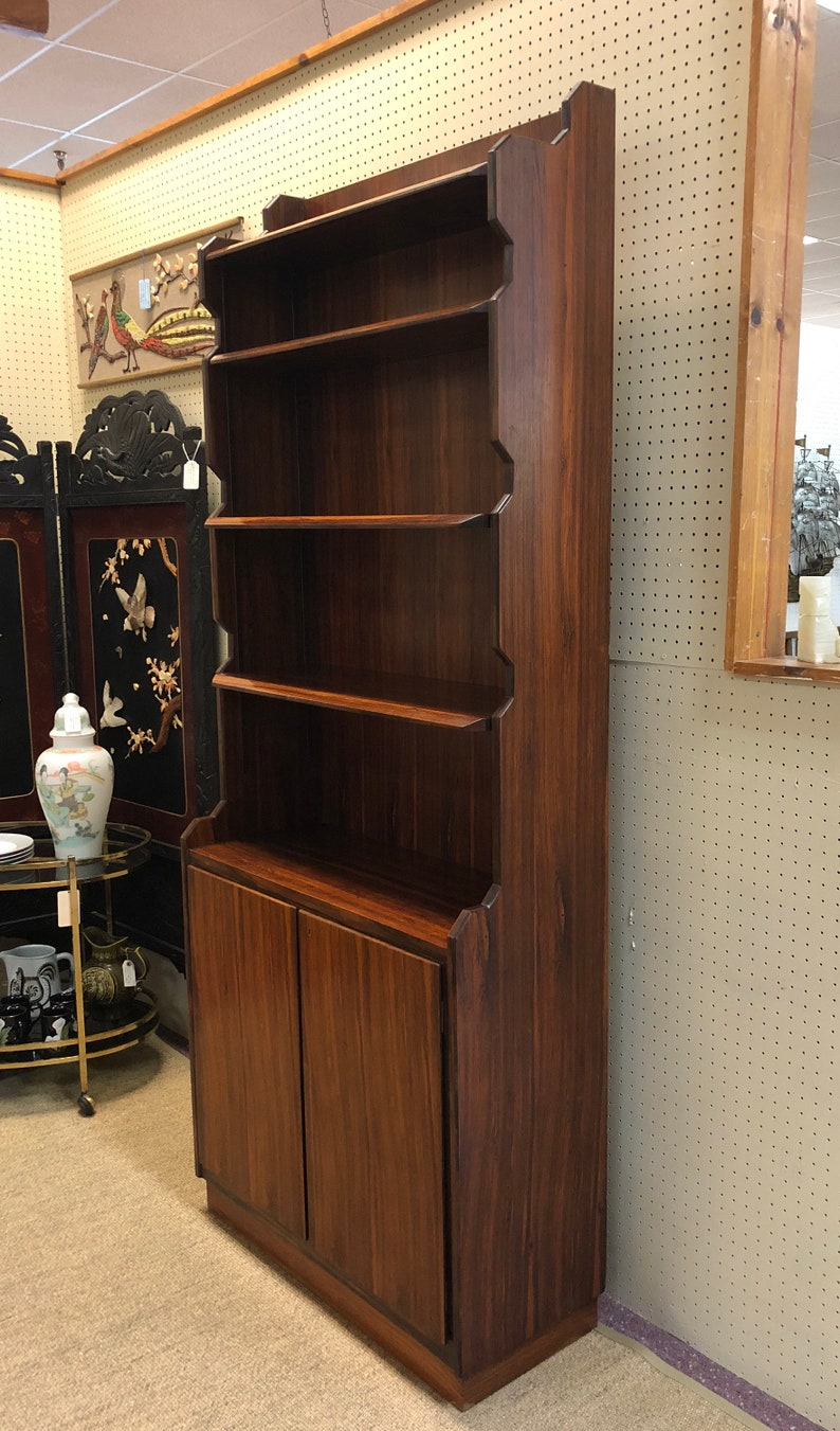 Italian Mid Century Modern Tall Rosewood Finish Bookcase With Locking Cabinet Designed By Vittorio Dassi