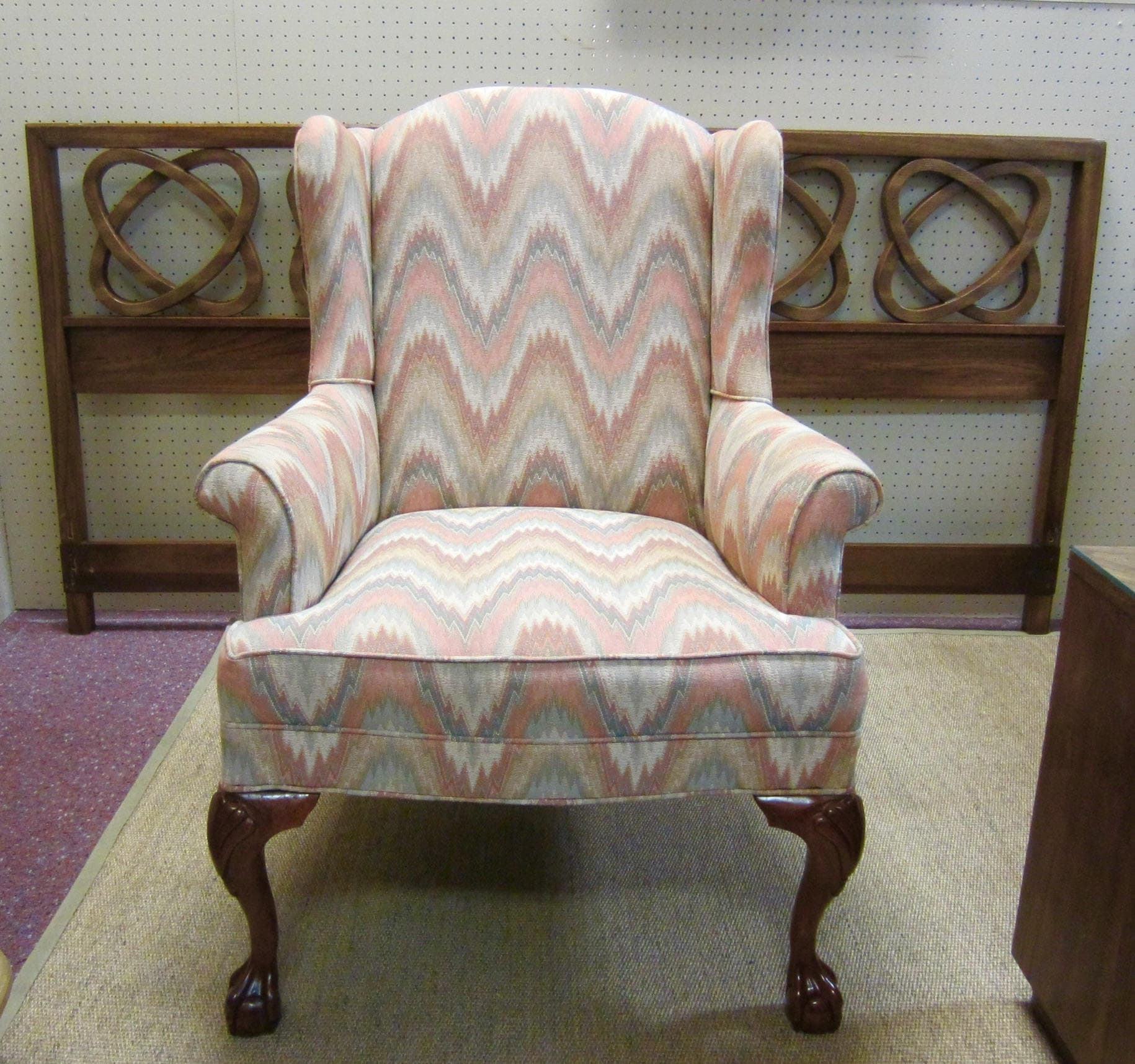 Vintage Flame Stitch Upholstered Wingback Chippendale
