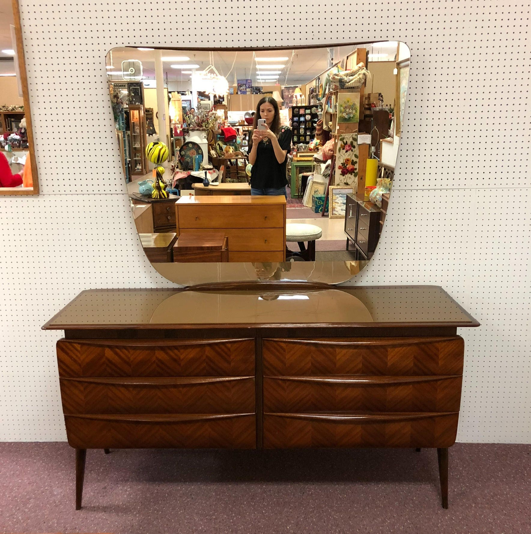 1950s Italian Mid Century Modern Mirrored Commode Entry Table