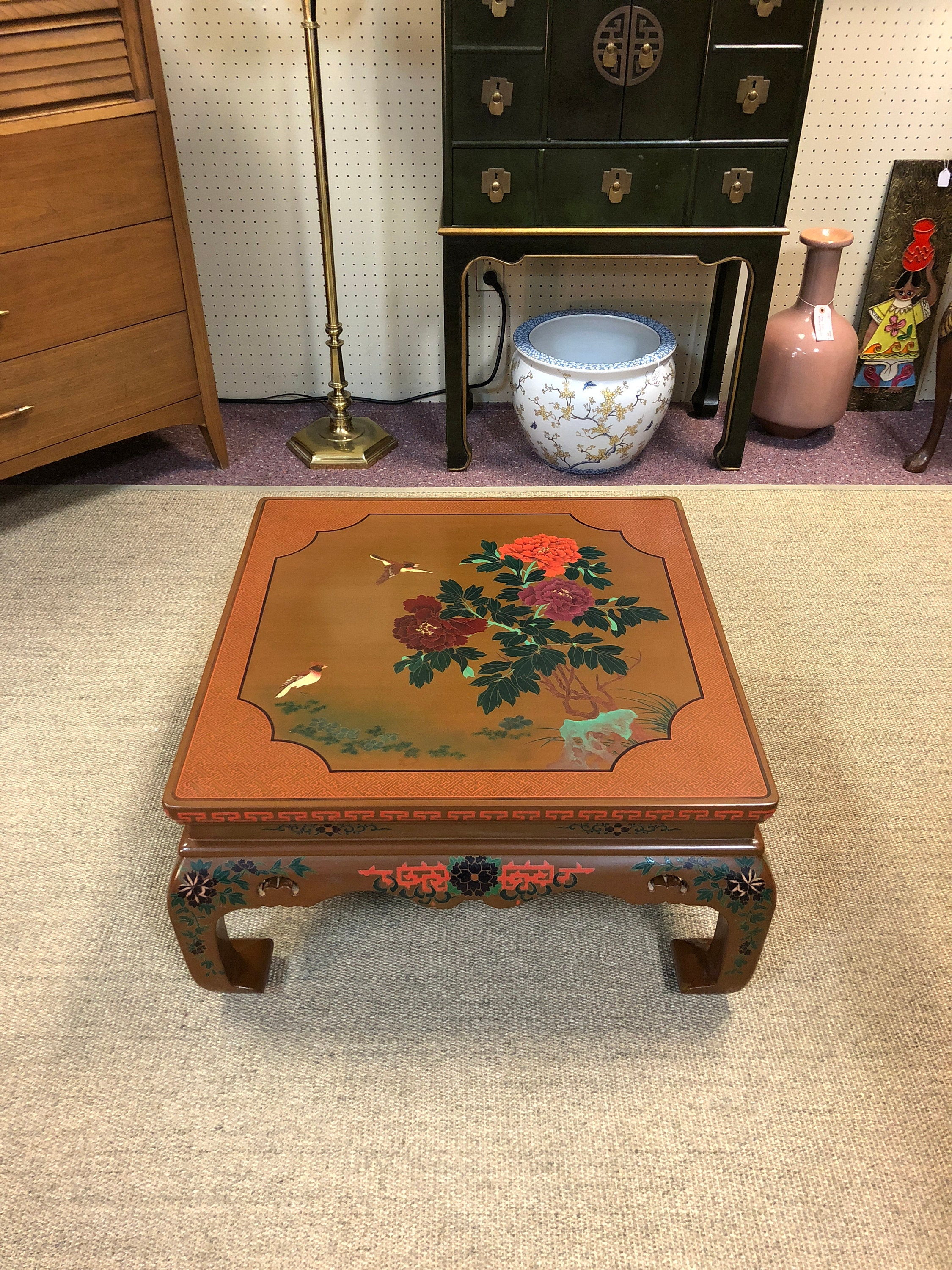 Lacquered Chinoiserie Coffee Table, Decorated In Bird, Floral, U0026 Geometric  Designs