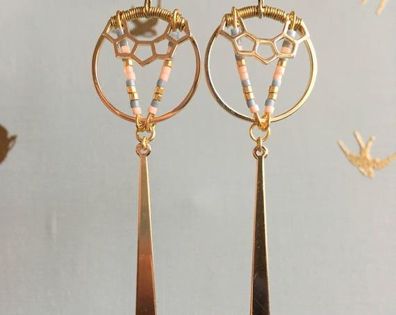 Colomba - Boucles d'oreilles ethniques Tiges de miyuki et polygone