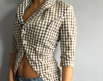 Comme des Garçons gingham blazer Comme Comme checkered cotton jacket tuxedo tails checks Rei Kawakubo Victorian fitted checked blazer
