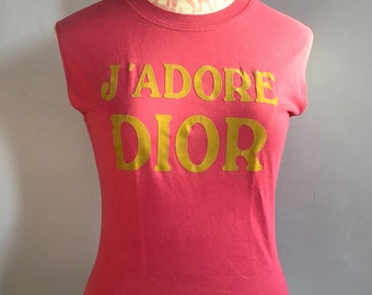 445fc7736 J'adore Dior pink t-shirt Galliano for Dior rose tank top John Galliano for  Christian Dior World Champion 1947 muscle tee cotton tee shirt