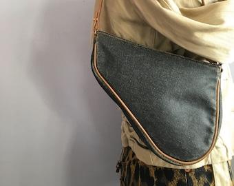 51e395777b9e Vintage Dior saddle bag Galliano for Dior mini denim saddle bag acid washed  denim purse John Galliano for Christian Dior washed denim bag