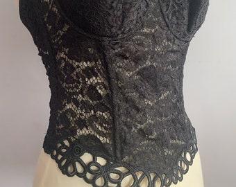 La Perla black label lace corset lace boned bustier La Perla black lace boned corset top halter top lace top lingerie bustier lace soutache