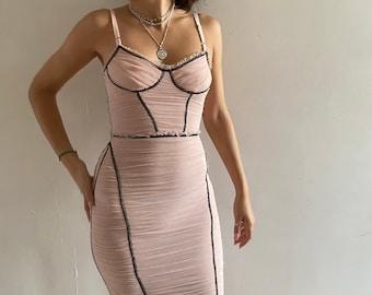 Dolce and Gabbana ruched mesh bustier dress D&G shirred blush net fitted dress Dolce Gabbana pinup corset dress D G topstitched bra dress