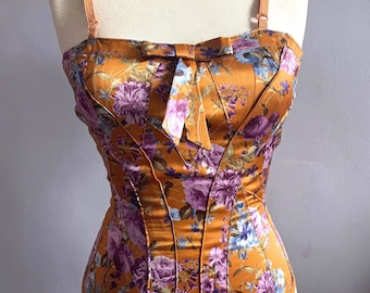 Dolce Gabbana silk satin bustier D and G silk floral bustier D G flower print satin camisole silk corset silk bustier floral silk satin top