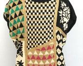 Kansai Yamamoto sweater glitter sweater 80s kansai yamamoto dolman sleeved sweater cotton woven sweater knit glitter graphic design checks