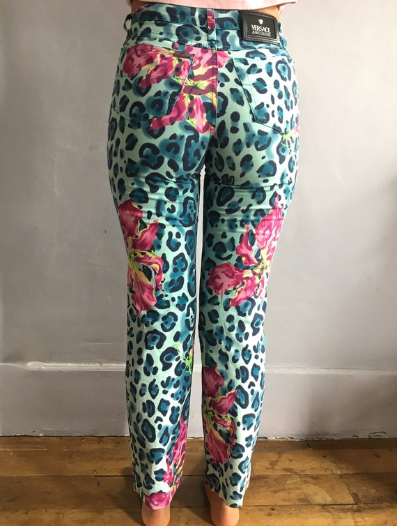 455605314ced Vintage Versace Jeans Couture high waisted jeans leopard print