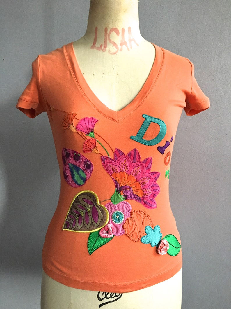 3065cf12293820 Vintage Dior flower patch t-shirt Galliano for Dior orange tee | Etsy