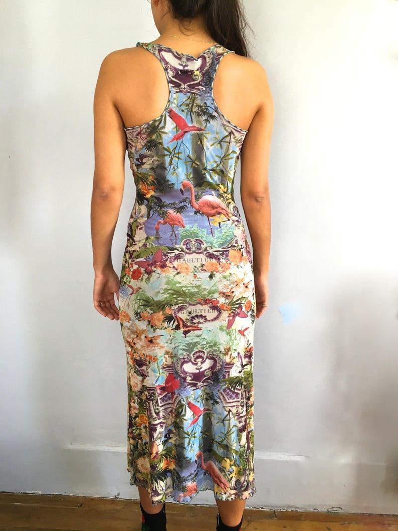 Jean Paul Gaultier dress tropical print flamingo vintage  26e101643