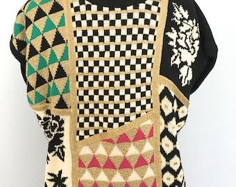 Kansai Yamamoto sweater glitter sweater 80s kansai yamamoto dolman sleeved sweater cotton woven sweater knit glitter graphic David Bowie