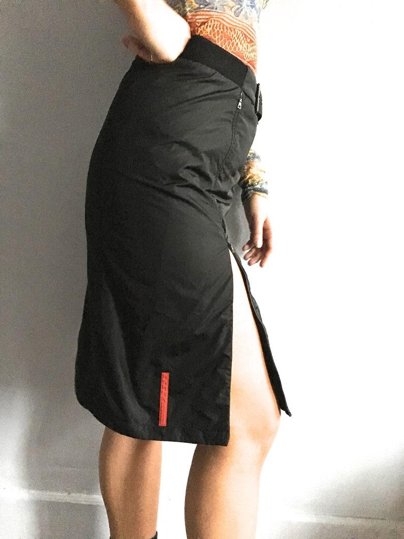 318be64aea59 Vintage Prada nylon skirt zip front skirt 90s 80s Prada black | Etsy