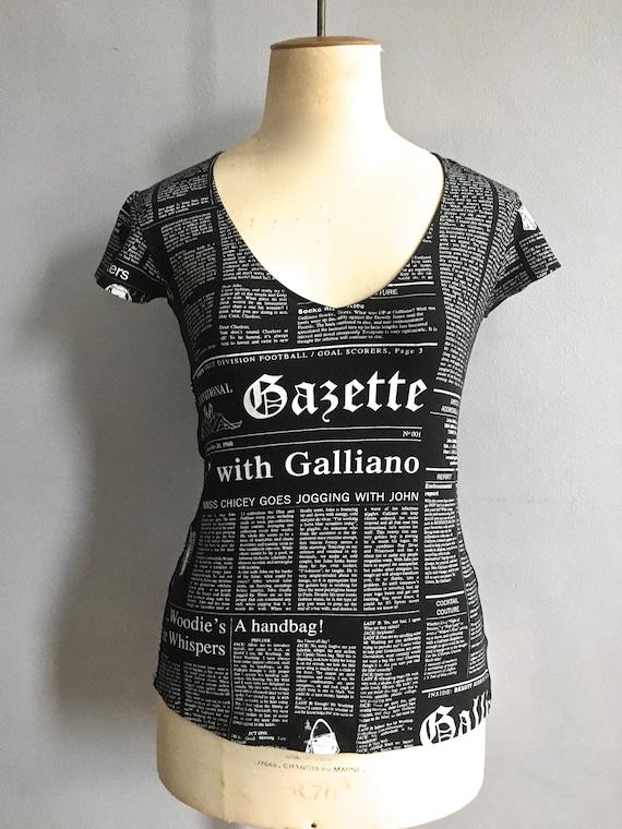 John Galliano Gazette top newspaper print t-shirt