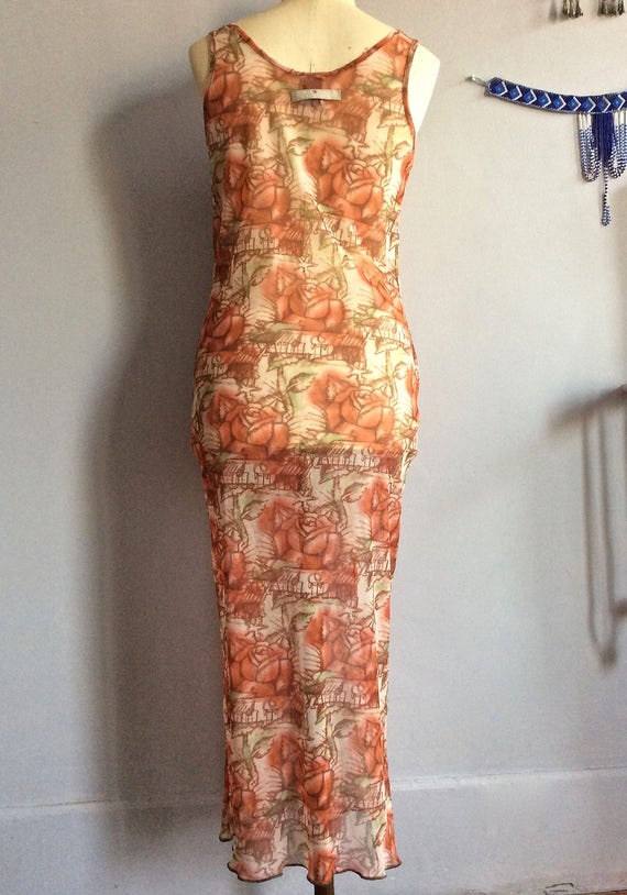 Jean Paul Gaultier sheer mesh dress tattoo print … - image 3