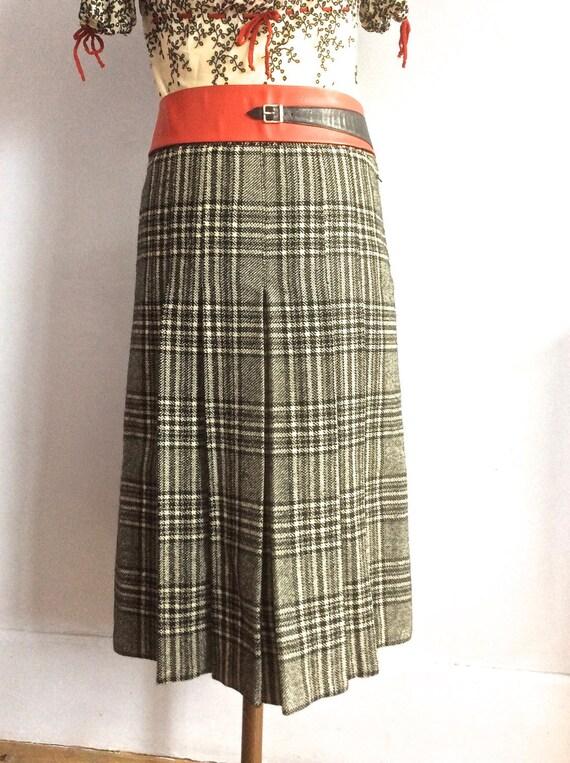 70s pleated skirt plaid kilt a-line wool check ski