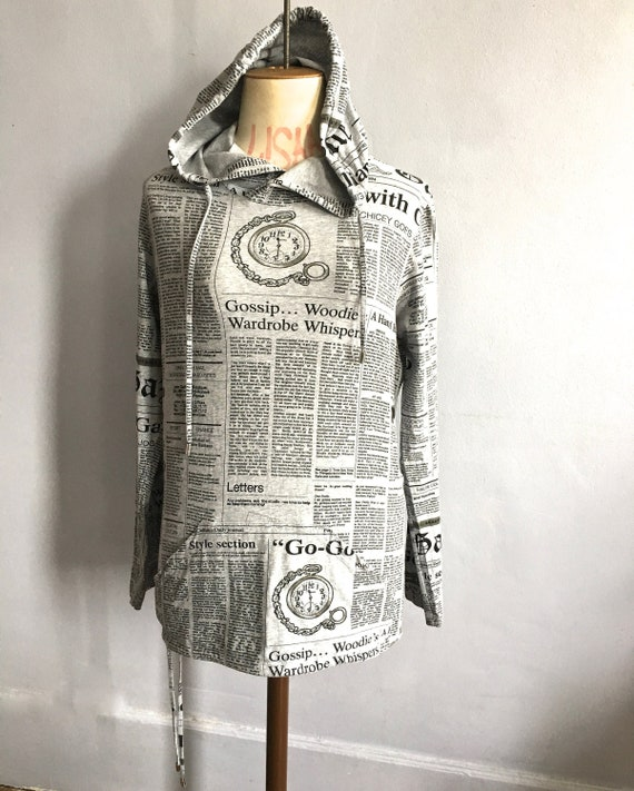 John Galliano Gazette hoodie newspaper print hoodi