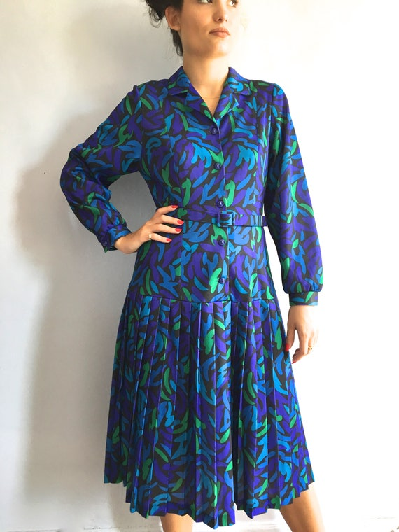 70s shirtwaist dress 70s pleated shirt dress drop
